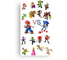 Sonic and Mario Canvas Print