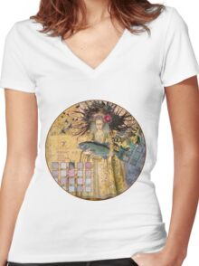 Whimsical Pisces Woman Renaissance fishing Gothic Women's Fitted V-Neck T-Shirt