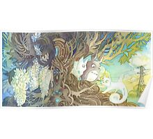 Art Nouveau Totoro and Pangur Bag from Studio Ghibli and Secret of Kells Poster