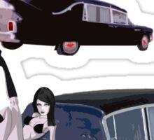 His And Hearse - Bikini Girl Classic Car (Green Letter Variant) Sticker