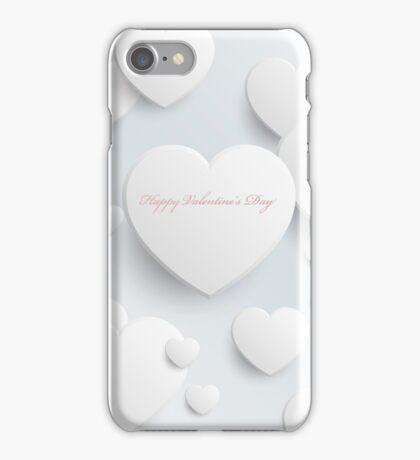 Happy Valentine's Day - White Hearts iPhone Case/Skin