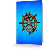 Nautical Ships Wheel And Anchor Greeting Card