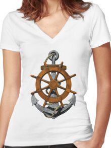 Nautical Ships Wheel And Anchor Women's Fitted V-Neck T-Shirt