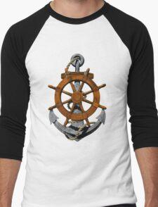 Nautical Ships Wheel And Anchor Men's Baseball ¾ T-Shirt