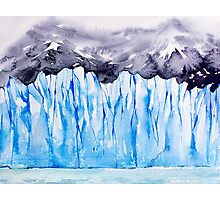 Glacier. Watercolor landscape. Photographic Print