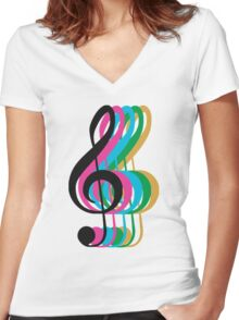 PTX Music Notes Women's Fitted V-Neck T-Shirt