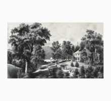 A villa on the Hudson - Currier & Ives - 1869 One Piece - Long Sleeve