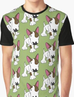 Bull Terrier Eye Patch Pup White Graphic T-Shirt