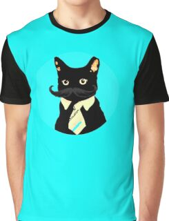 Mustache and cat Graphic T-Shirt