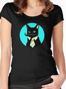 Mustache and cat Women's Fitted Scoop T-Shirt