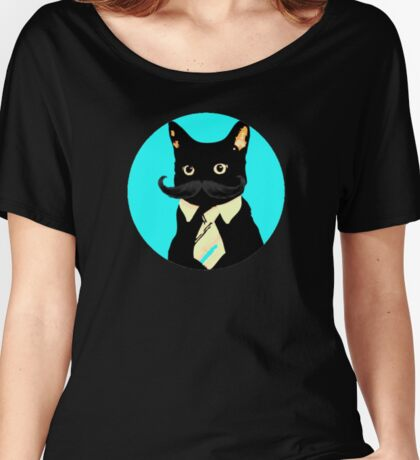 Mustache and cat Women's Relaxed Fit T-Shirt
