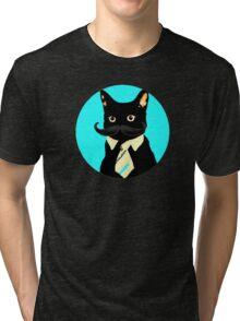 Mustache and cat Tri-blend T-Shirt