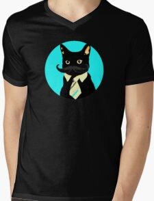 Mustache and cat Mens V-Neck T-Shirt