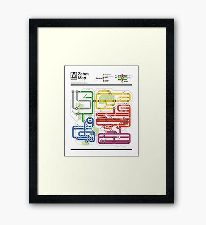 Metroid Metro - NES Maps Series Framed Print