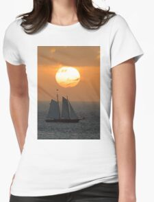 Sailboat Sunset Womens Fitted T-Shirt