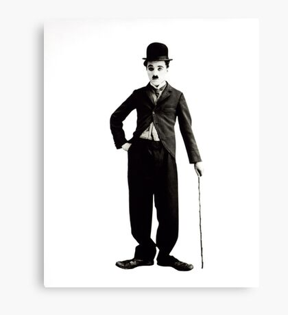Charlie Chaplin Portrait Black and White Canvas Print