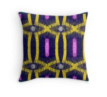 Yellow abstract on dark blue Throw Pillow