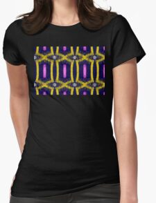 Yellow abstract on dark blue Womens Fitted T-Shirt