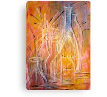 The Glass Bottles 2A mixed media painting  Canvas Print