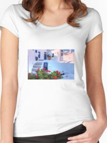Santorini Island Greece Women's Fitted Scoop T-Shirt