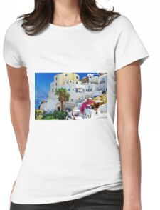 Santorini Island Greece Womens Fitted T-Shirt