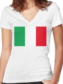 Italian Flag Women's Fitted V-Neck T-Shirt