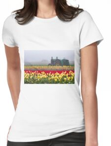 Yellow tulips and tractors Womens Fitted T-Shirt