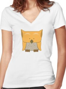 So cute Owl in orange Women's Fitted V-Neck T-Shirt