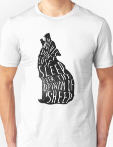 Wolves don't lose sleep over the opinion of sheep - version 1 - no background T-Shirt