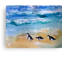 Three Little Penguins Out for a Stroll  Canvas Print