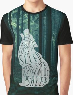 Wolves don't lose sleep over the opinion of sheep - version 2 - with background Graphic T-Shirt
