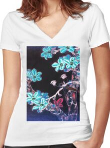 'Aquamarine Dream' - Abstract Glowing Blossoms Women's Fitted V-Neck T-Shirt