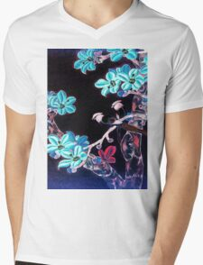 'Aquamarine Dream' - Abstract Glowing Blossoms Mens V-Neck T-Shirt
