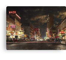 City - Dallas TX - Elm street at night 1941 Canvas Print