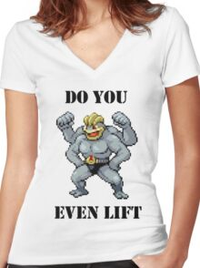 Do You Even Lift Machamp? Women's Fitted V-Neck T-Shirt