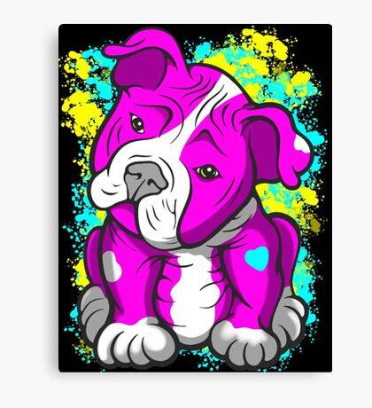 Pit Bull Pup Tilted Head Cartoon Pink  Canvas Print