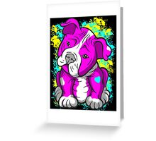 Pit Bull Pup Tilted Head Cartoon Pink  Greeting Card