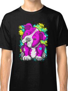 Pit Bull Pup Tilted Head Cartoon Pink  Classic T-Shirt