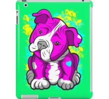 Pit Bull Pup Tilted Head Cartoon Pink  iPad Case/Skin