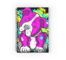 Pit Bull Pup Tilted Head Cartoon Pink  Spiral Notebook
