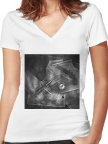 Old World Travel bw 2 Women's Fitted V-Neck T-Shirt