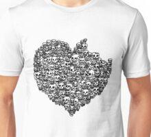 a bite off skull heart. Unisex T-Shirt