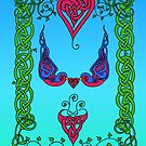 Celtic Hearts and Bluebirds by ingridthecrafty