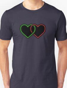 Valentine Interlocking 2 - Tone Neon Sweetheart Hearts on Black T-Shirt