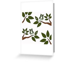 Green Love Owls Greeting Card