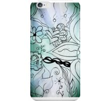 Rachel Doodle Art - Blue Funky Flower Doodles iPhone Case/Skin