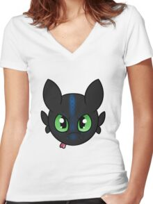 Alpha Toothless Women's Fitted V-Neck T-Shirt