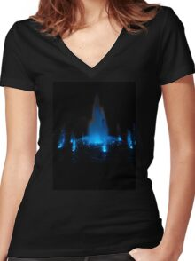 Blue Fountain at Night Women's Fitted V-Neck T-Shirt