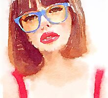 Watercolor Hipster Woman with blue glasses by mrnobody15