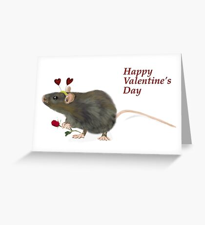 Valentine Rat  Greeting Card